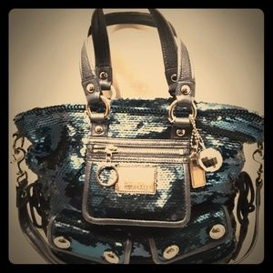 Crazy Deal!!! Coach Poppy Sequin Blue Spotlight